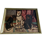 Vintage Chromolithograph by GF Gilman Dogs Copyright 1875 in Wood Frame