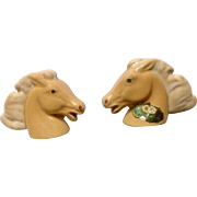 Vintage Rosemeade Tan Horse Head Bust Salt and Pepper Shakers Ceramic S & P Figurines