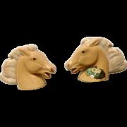 Vintage Rosemeade Tan Horse Head Bust Salt and Pepper Shakers Ceramic S & P Figurines