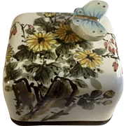 Arirang Moony Orgel Music Box Original Made In Korea Ceramic and Wood Butterfly and Floral Design Paperweight