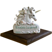 Enesco Unicorn Display Sign with Flowers and Ribbons on Mane Elusive Legend Collection Figurine 1990 by G. G. Santiago