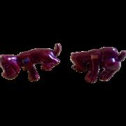 Vintage Dog Figurine Pointer Setter Peeing Pooping Rare Set Camark Pottery Franchise Promotion Advertising Grapette Soda Burgundy Original Tags