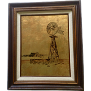 Lorna Cruse Windmill at the Water Well on Rural Ranch, 24kt Gold leaf Behind Reverse Glass Landscape Oil Painting Signed by Artist