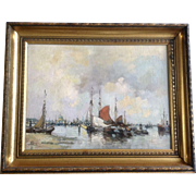 F Roberts (b. 1879) European Dutch Harbor Scene Oil Painting on Canvas Board Signed Listed by Artist