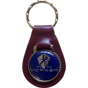 Vintage New Yorker Chrysler Pentastar Emblem Car Keychain Top Grain Leather