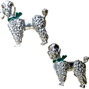 Silver Tone Poodle Dog Brooch Pins Mother and Puppy Costume Jewelry