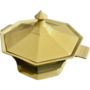 Vintage Covered Casserole Daffodil All Yellow by Independence Ironstone Interpace Japan Octagonal, Ribbed Base Serving Soup Terrine Dish