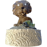 Vintage Quon-Quon Lion and Mouse QQ Music Box Ceramic Figurine Plays 'Feelings' Made in Japan