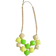 Vintage 1970's Necklace Gold Tone Chain with Florescent Neon Lime Green, Lemon Yellow and Vanilla Cream Faux Stones Costume Jewelry