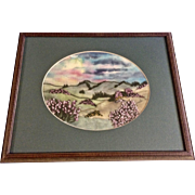 Nicola J Allison, Purple Flowers in a Field Embroidery Stitchery on Watercolor Painted Silk Framed Picture