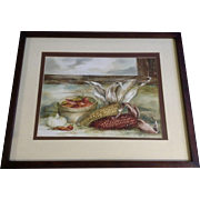 Lari Clark Still Life Watercolor Painting, Dry Indian Corn, Red Peppers and Garlic Signed by Artist