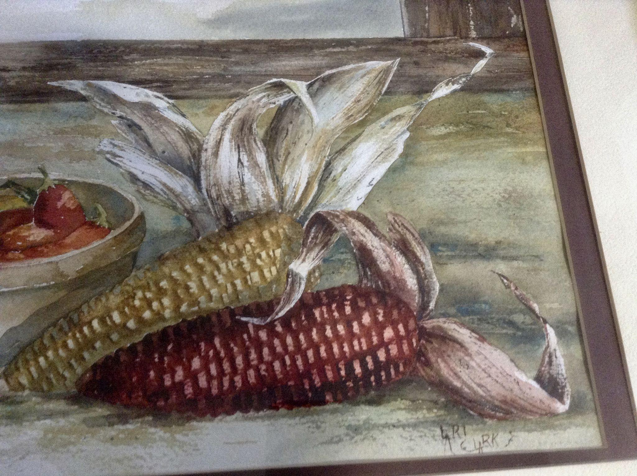 Lari Clark Still Life Watercolor Painting Dry Indian Corn
