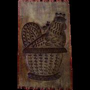 Vintage Wooden Folk Art Chicken Rooster Hen Carving Springerle Cookie / Butter Mold Wall Hanging