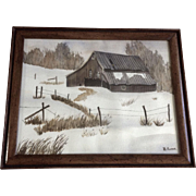 B Foster, Winter Scene of the Old Barn, Watercolor Painting Signed by Artist