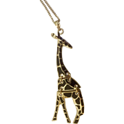 """Adorable Giraffe Animal Necklace Gold Tone and Black Costume Jewelry 32-1/2"""" Length"""
