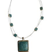 "Blue Silver Tone Necklace with Large Square Pendant 18-1/2"" Long NY Costume Jewelry"