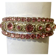 Pink Rhinestones on Silver Tone Backing Bracelets of Costume Jewelry
