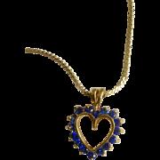 "Beautiful Necklace Gold Tone and Blue Rhinestone Heart Pendant Costume Jewelry 18"" Long Chain"