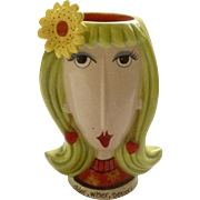 Dolly Mama's by Joey 'Older, Wiser, Sexier!' Birthday Girl Head Vase Lady with Daisy and Heart Earrings Discontinued