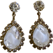 Sparkling Vintage Teardrop Clip-on Earrings Crystal Glass Faux Diamond Rhinestone Costume Jewelry