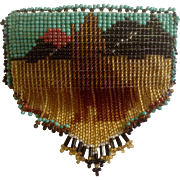 Beautiful Native American Howling Coyote Beaded Hair Barrette with Leather Backing