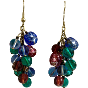 Dangling Beaded Glass Hook Earrings with Blue, Red and Green for Pierced Ears Costume Jewelry