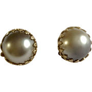 """Vintage Silver Gray Faux Pearl Clip-on Earrings Made Japan 3/4"""" Diameter Costume Jewelry"""
