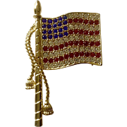 Patriotic American Flag Large Brooch Pin With Red, White and Blue Rhinestones on Gold Tone Setting Costume Jewelry