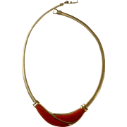 """Vintage Gold Tone Necklace with Red Enamel Design 16"""" Long Costume Jewelry"""