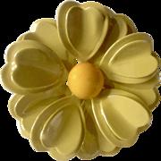 "Yellow Iridescent Metal Flower Brooch Pin Costume Jewelry 2-1/2"""