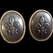 Rare Bing Grondahl Danish Cufflinks Pewter Cameo of Fluer De Lis Flower Lilly Costume Jewelry
