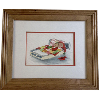 S Rouse, Christmas Mouse in Used Sardine Can Watercolor Painting Works on Paper Signed by Artist