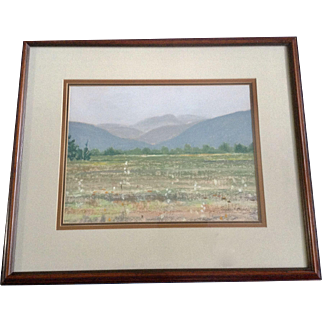 Shirley Chinneck Mountain Meadow Scene with Flowers, Pastel Landscape Painting Signed by Canadian Listed Artist