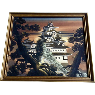 Asian Painting on Silk, Large Roof of Temple Seen Through Trees