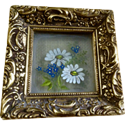 Small Three Dimensional Floral Oil Painting on Reverse Glass Signed by Artist