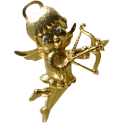 Gold Tone Cupid Angel with Blue Rhinestone Eyes Mamselle Brooch Pin Costume Jewelry 2""