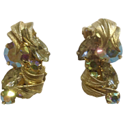 Cascading Aurora Borealis Rhinestones With Gold Tone Wrap Around Leaves Clip-on Earrings Costume Jewelry