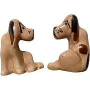 Vintage Hound Dog Sitting Bloodhounds Ceramic Figurines 1940's-1950's