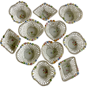 Vintage Ucagco Japan Floral Lattice Porcelain Miniature Baskets White Woven Nut Bowl Set Shaped Canasta / Poker Playing Card Suits