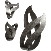Sarah Coventry Matching Silver Tone Mirror Reflection Flames Brooch Pin and Clip-on Earrings Costume Jewelry