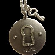 "Fossil Brand Silver Tone Diamond Rhinestone Keyhole With Key Charm Pendant Chain Necklace 29"" Length Costume Jewelry"