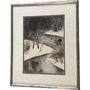 Beautiful Snow Covered Landscape Watercolor Painting Signed by Japanese Artist
