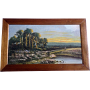 Beautiful Figural's Walking Across Landscape with Sunset Oil Painting on Board