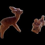 Vintage Erzgebirge Wood Hand Carved Miniatures Deer and Scottie Dog