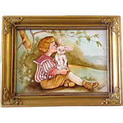 J. M. Weibel, Painting, Boy Kissing Bunny Rabbit, Original Oil on Board Signed by Childrens Book Illustration Artist,