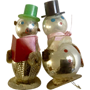 Mercury Glass Snowmen 1950's Figurines Christmas Ornaments Japan