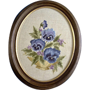 Vintage Hand Stitched and Embroidered Bouquet of Pansies Wall Decoration Picture