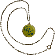 Yellow, Blue and Gold Tone Pendant on a Bronze Colored Chain necklace Costume Jewelry 19""