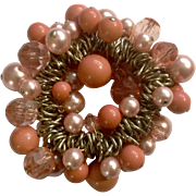 Peach and Pink Faux Pearl Beaded Bracelet Costume Jewelry