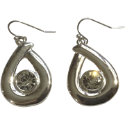 Dangling Silver Tone Tear Drop and Diamond Rhinestone Hook Earrings For Pierced Ears Costume Jewelry 1""